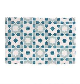 """Indaba Lisbon Tiles Bath Mat, Blue, 24x36"""""""