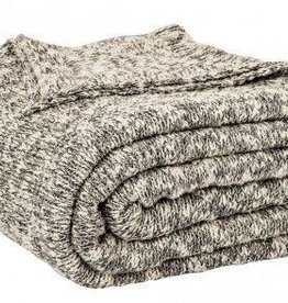Brunelli (HB Promotion Inc) Grey and Beige Knitted Blanket, Henry Collection 88x90""