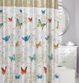 Moda at Home Butterfly Script Shower Curtain, 71x71""