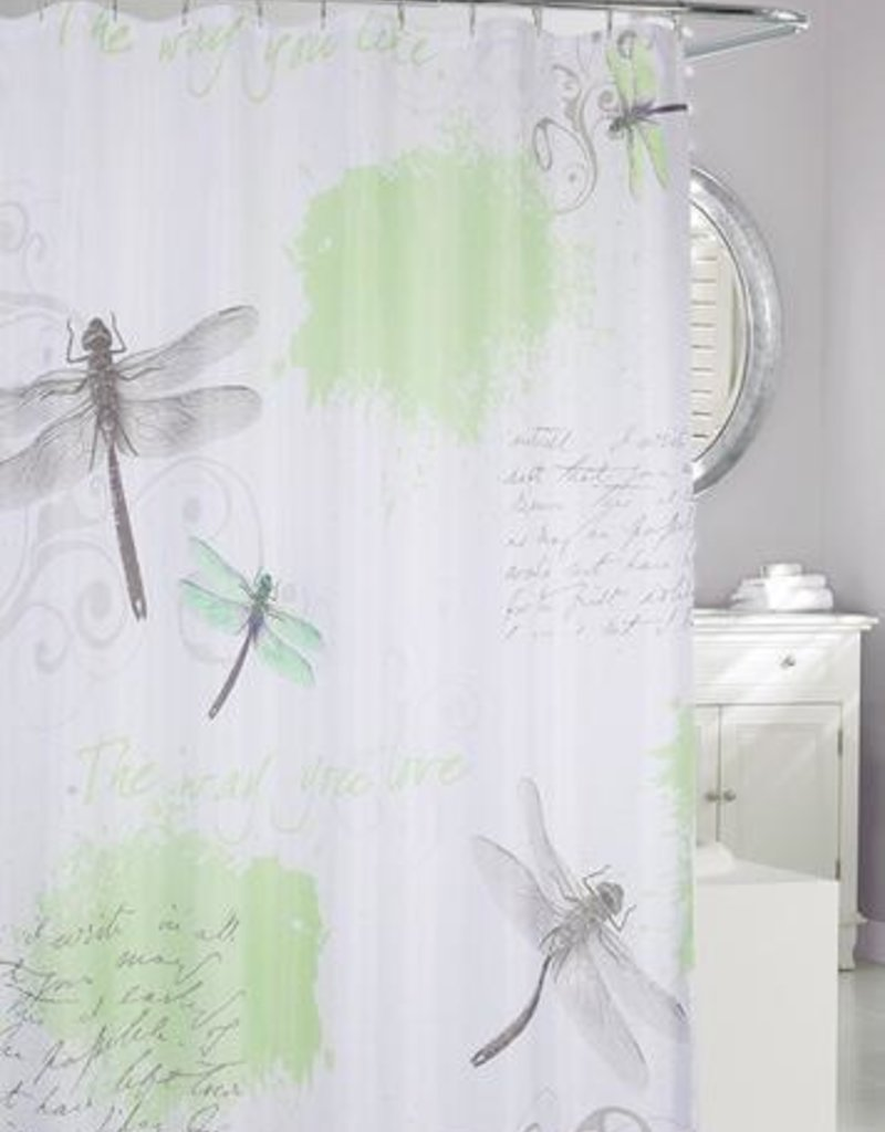 Moda at Home Dragonfly Shower Curtain, Green/Grey, 71x71""