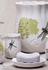 Moda at Home Dragonfly Ceramic Soap Dish - White/Green