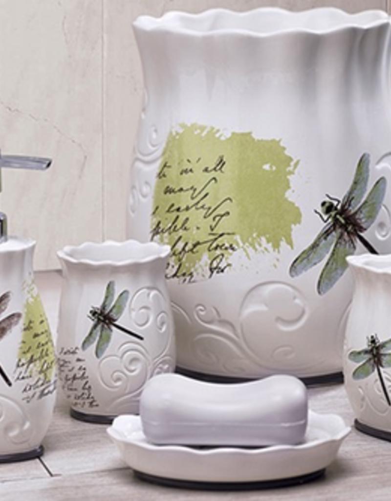 Moda at Home Dragonfly Ceramic Toothbrush Holder - White/Green