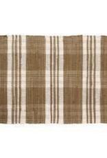 "Gajmoti of Canada Ltd. Floor Mat-Ribbed Cotton Chindi Checks-Beige, 24x36"""