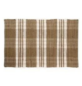 Gajmoti of Canada Ltd. Floor Mat-Ribbed Cotton Chindi Checks-Beige, 24x36""
