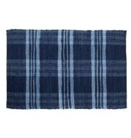 Gajmoti of Canada Ltd. Floor Mat-Ribbed Cotton Chindi Checks-Blue, 24x36""