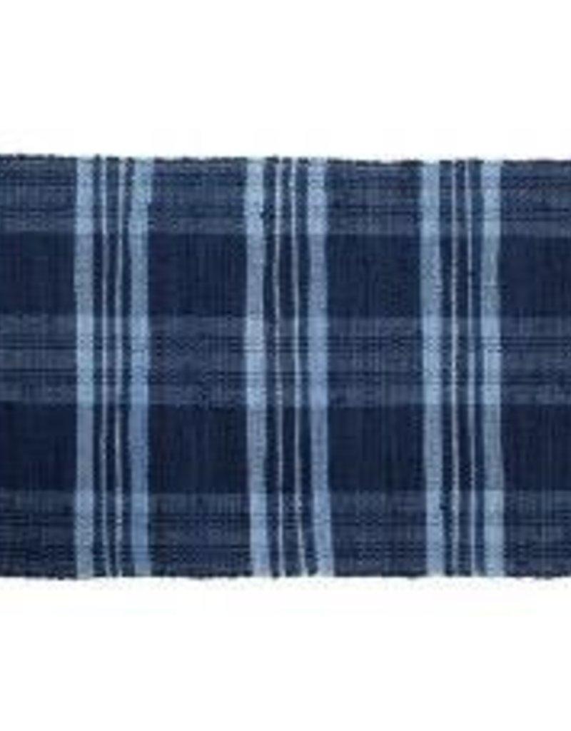 "Gajmoti of Canada Ltd. Floor Mat-Ribbed Cotton Chindi Checks-Blue, 24x36"""