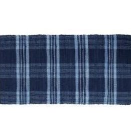 Gajmoti of Canada Ltd. Floor Mat-Ribbed Cotton Chindi Checks-Blue, 30x48""