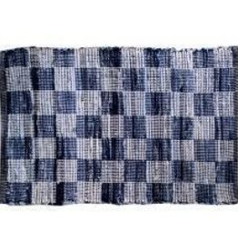 "Gajmoti of Canada Ltd. Chindi Rugs 30X48"" - Denim Blue Checked"