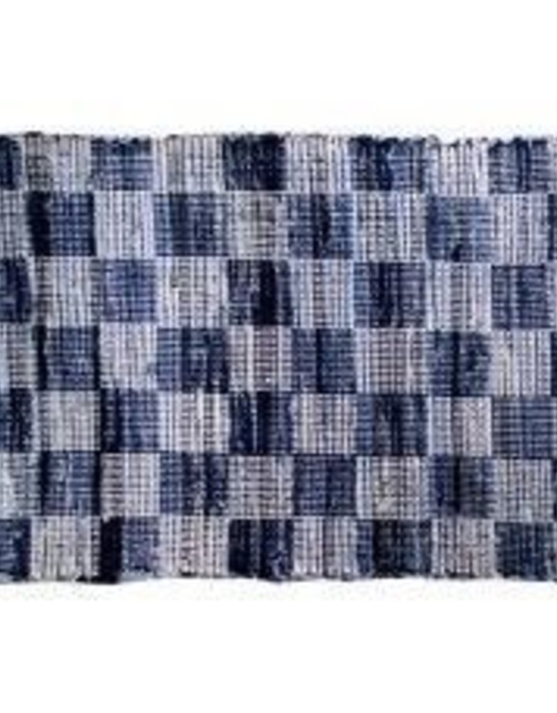 "Gajmoti of Canada Ltd. Chindi Rugs 30X48"" - Denim Blue Checked"