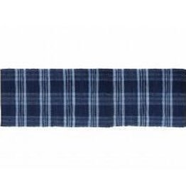 Gajmoti of Canada Ltd. Floor Mat-Ribbed Cotton Chindi Checks-Blue, 27x72""