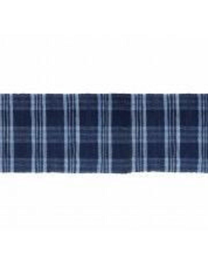 "Gajmoti of Canada Ltd. Floor Mat-Ribbed Cotton Chindi Checks-Blue, 27x72"""