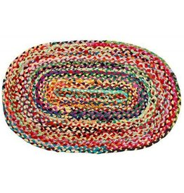Gajmoti of Canada Ltd. Braided Cotton Oval Floor Mat Multi Color Bright 24x36""