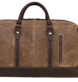 DaVan Waxed Canvas Duffel Bag With Leather Trim Brown