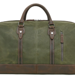 DaVan Waxed Canvas Duffel Bag With Leather Trim Green