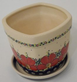 Polish Pottery Flower Pot & Base, 13x13x11cm, Red Flowers & Dots