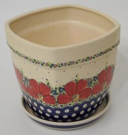 Polish Pottery Flower Pot & Base, 19x19x17cm, Red Flowers & Dots