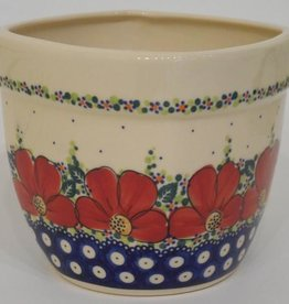 Polish Pottery Flower Pot & Base, 16x16x14cm, Red Flowers & Dots