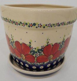 Polish Pottery Flower Pot & Base, 10x10x9cm, Red Flowers & Dots