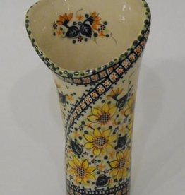 Polish Pottery Vase, Tall, 23cm, Sunflower