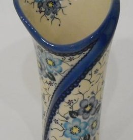 Polish Pottery Vase, Tall, 23cm, Blue Flowers & Vines