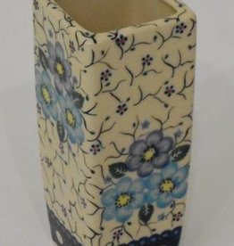 Polish Pottery Vase, Square, 17cm, Blue Flowers & Vines