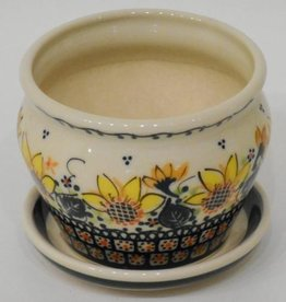 Polish Pottery Flower Pot & Base, 10x7.5cm, Sunflower