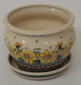 Polish Pottery Flower Pot & Base, 13x10cm, Sunflower