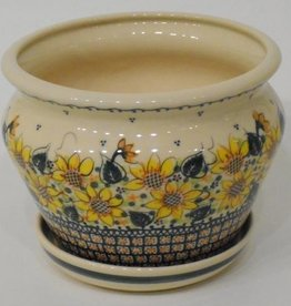 Polish Pottery Flower Pot & Base, 19x14cm, Sunflower