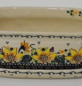 Polish Pottery Flower Pot & Base, 18x9x7cm, Sunflower