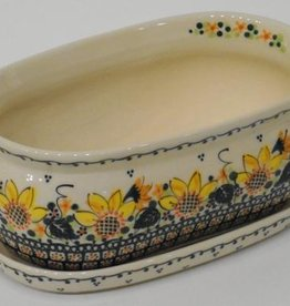 Polish Pottery Flower Pot & Base, 21x12x9cm, Sunflower