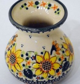Polish Pottery Vase, Short, 9.5cm, Sunflower