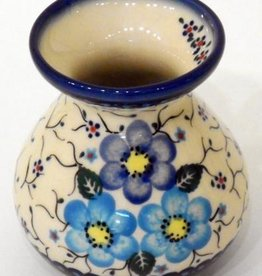 Polish Pottery Vase, Short, 9.5cm, Blue Flowers & Vines