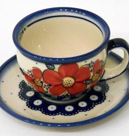 Polish Pottery Tea Cup & Saucer, Red Flowers & Dots