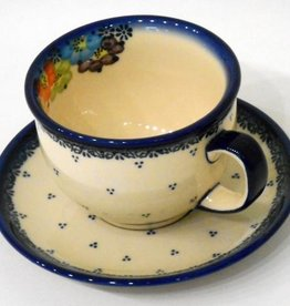 Polish Pottery Tea Cup & Saucer, Blue Dot Clusters