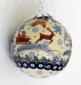 Polish Pottery Christmas Ornament, Ball, 7cm, Snowflakes & Reindeer
