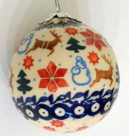 Polish Pottery Christmas Ornament, Ball, 7cm, Holly & Reindeer