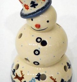 Polish Pottery Christmas Snowman, 18cm, Holly & Reindeer