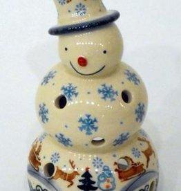 Polish Pottery Christmas Snowman, 18cm, Snowflakes & Reindeer