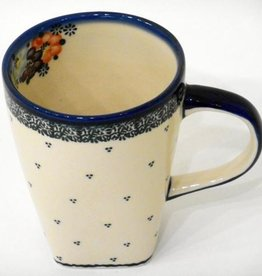 Polish Pottery Mug, Tall, 600mL, Blue Dot Clusters