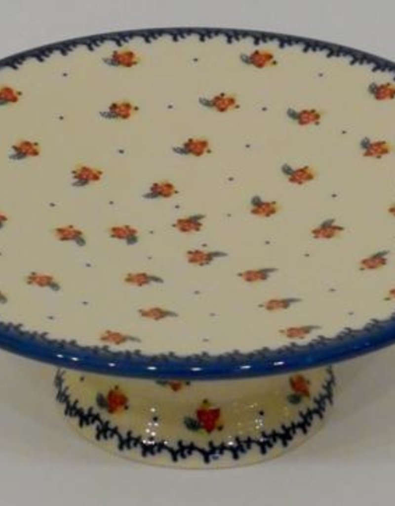 Polish Pottery Cake Platter, 24x8.5cm, Red Berries