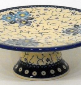 Polish Pottery Cake Platter, 24x8.5cm, Blue Flowers & Vines
