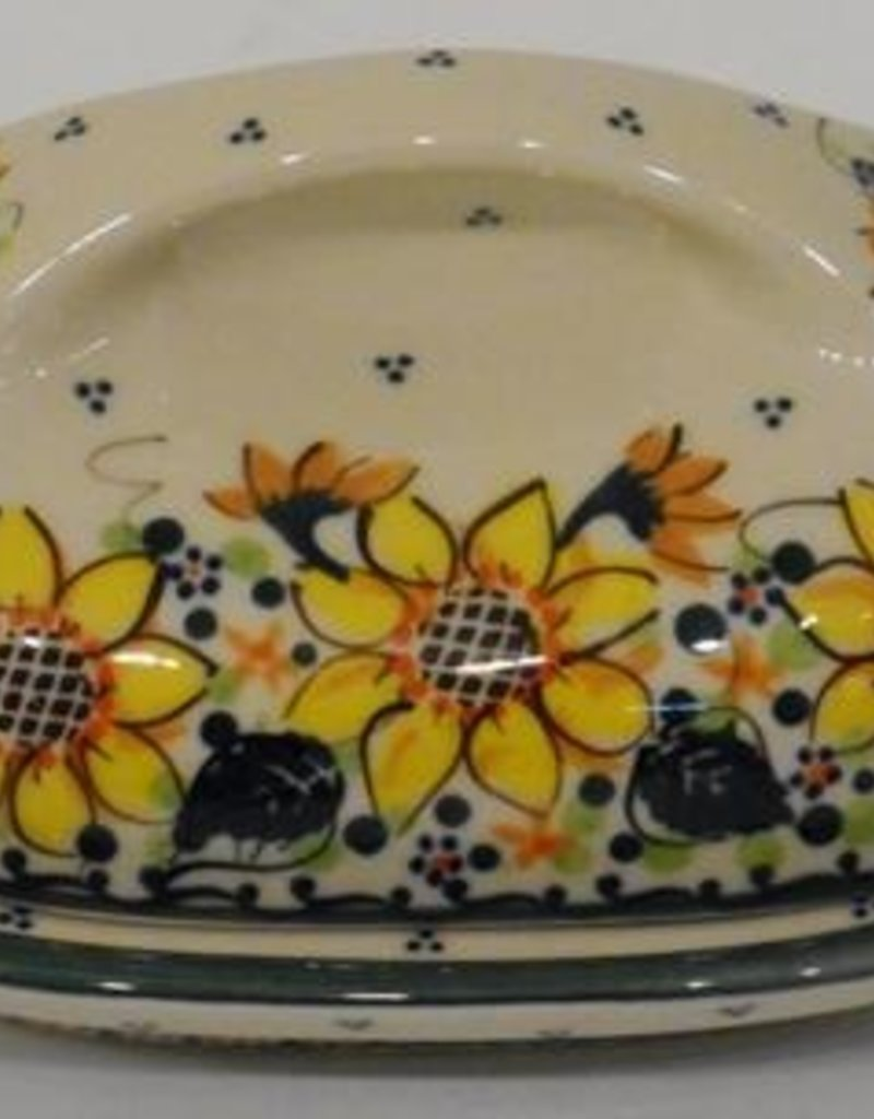 Polish Pottery Butter Dish, Country, 18x13x9cm, Sunflower