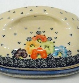 Polish Pottery Butter Dish, Country, 18x13x9cm, Blue Dot Clusters