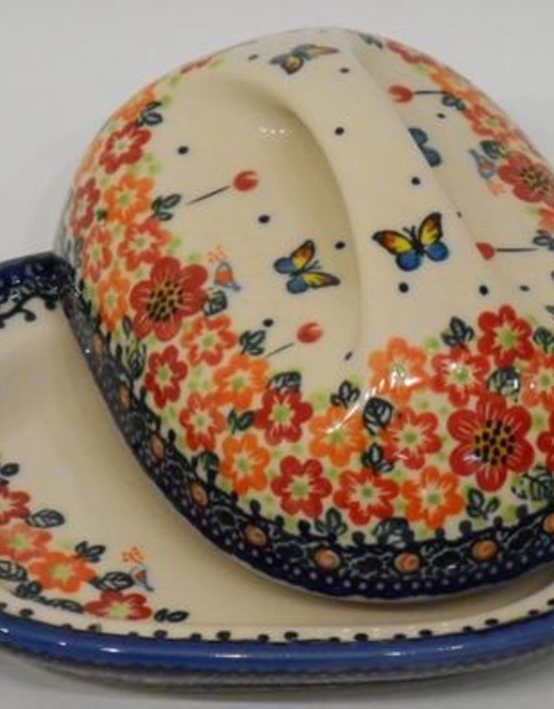 Polish Pottery Butter Dish, Country, 18x13x9cm, Red Flowers & Butterflies