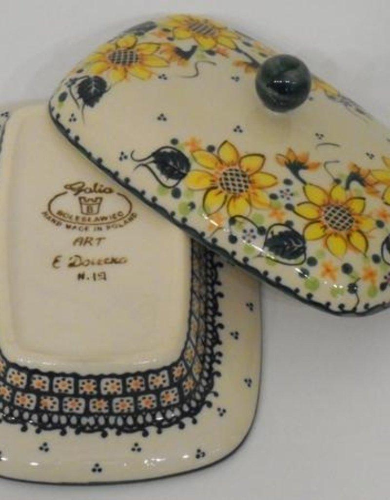 Polish Pottery Butter Dish, Rectangular, 18x13x9cm, Sunflower