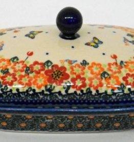 Polish Pottery Butter Dish, Rectangular, 18x13x9cm, Red Flowers & Butterflies