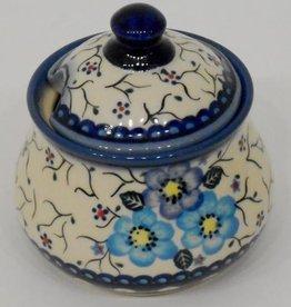 Polish Pottery Sugar Bowl, 10x9cm, Blue Flowers & Vines