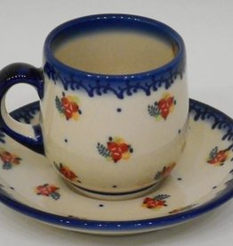Polish Pottery Espresso Cup & Saucer, Red Berries