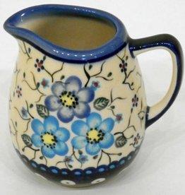 Polish Pottery Creamer, 9cm, Blue Flowers & Vines