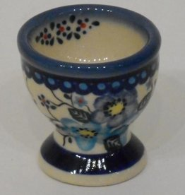 Polish Pottery Egg Cup, Blue Flowers & Vines